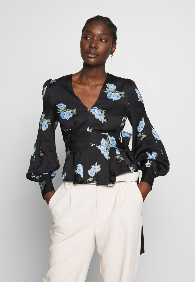 PUFFY SLEEVES BLOUSE - Pusero - porcelain/black