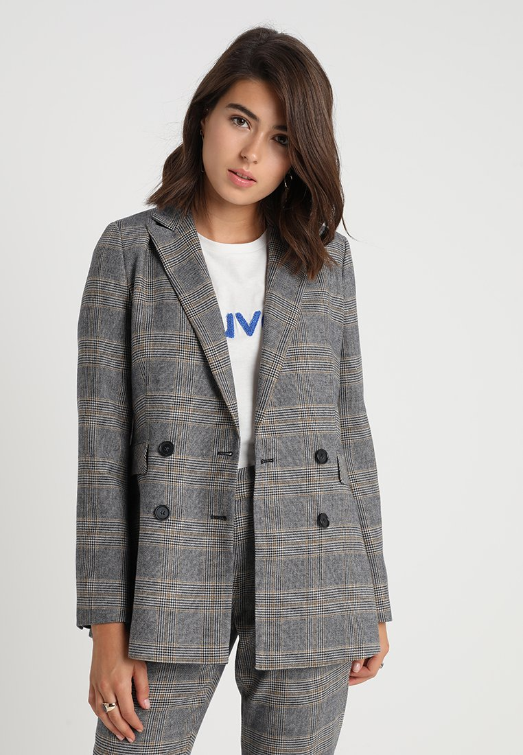 IVY & OAK - DOUBLE BREASTED CHECKED - Blazer - grey check