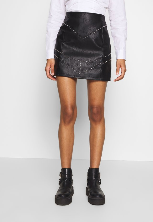 STUDDED MINI SKIRT - Spódnica trapezowa - black