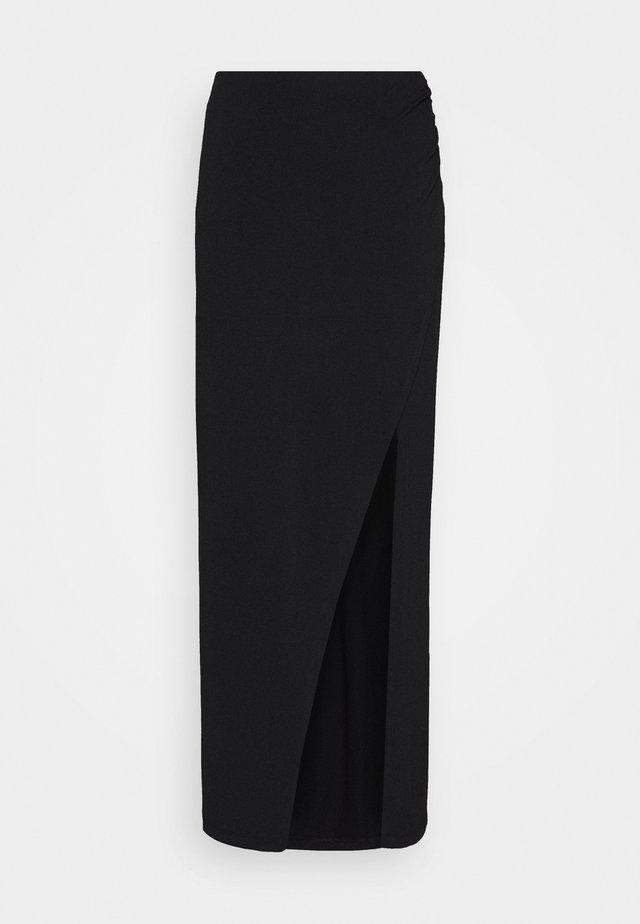 WIDE SLIT MAXI SKIRT - Maxi skirt - black