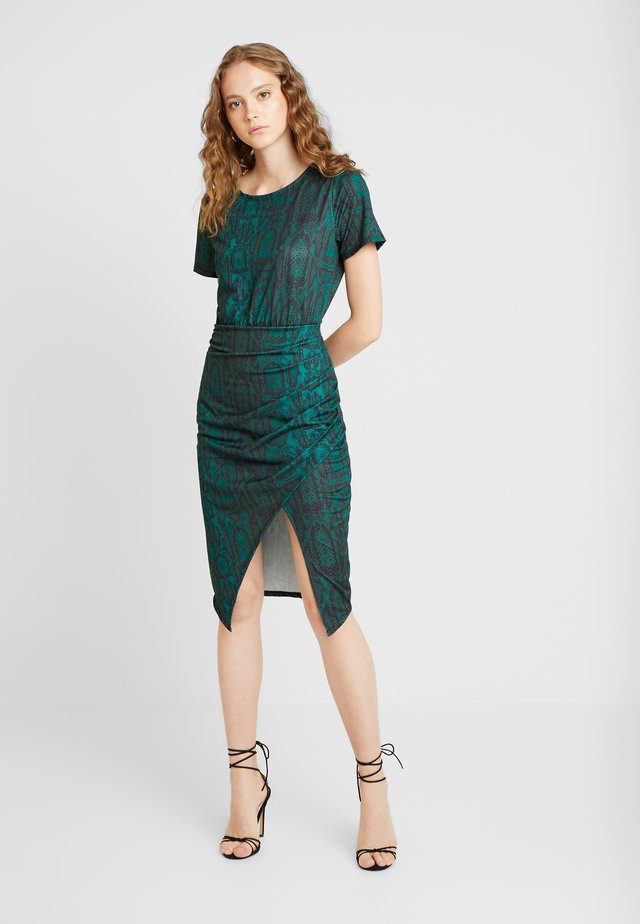 FRONT WRAP DRESS - Fodralklänning - green