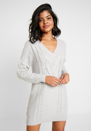 CABLE DRESS - Jumper dress - light grey melage
