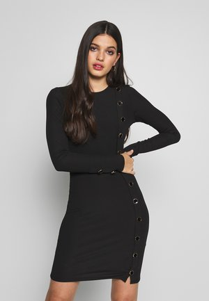 BUTTON UP DRESS - Shift dress - black