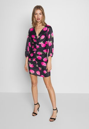 FLORALFRONT GATHERED DRESS - Tubino - black
