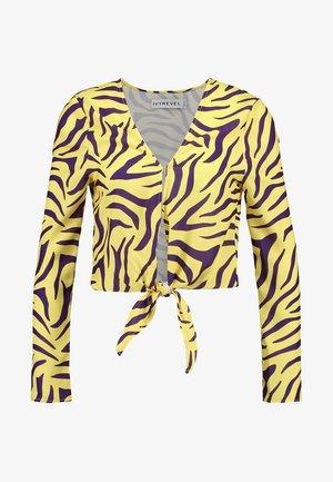 TIE FRONT - Blouse - purple/yellow