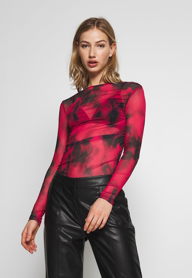 MESH TOP - Blouse - black/cerise
