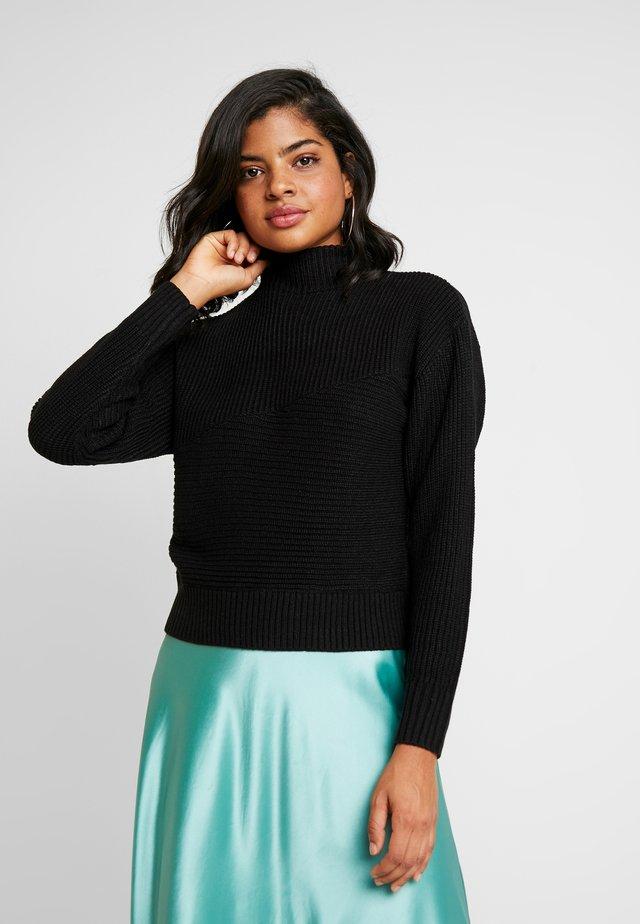 HALF NECK - Stickad tröja - black