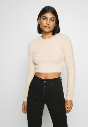 CROPPED FUZZY - Sweter - natural