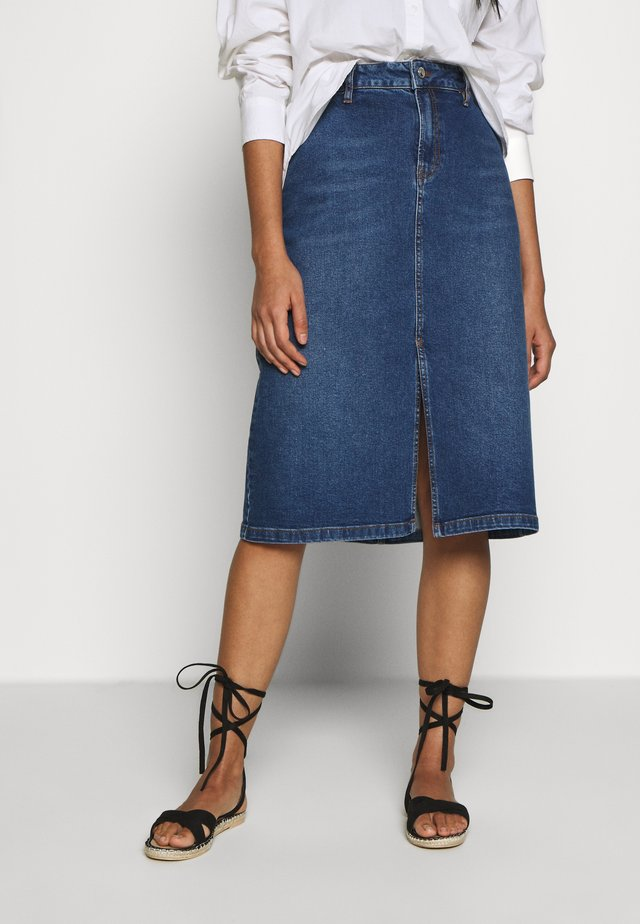 LOLA KNEE SKIRT VINTAGE - A-linjainen hame - denim blue