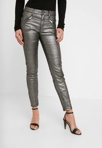 Ivy Copenhagen - TAYLOR ANKLE GLAM - Jeans Skinny Fit - coated denim/silver - 0