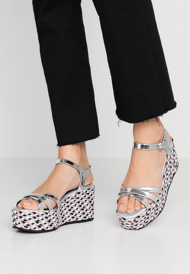 Sixtyseven - High Heel Sandalette - silver/braid purple/black