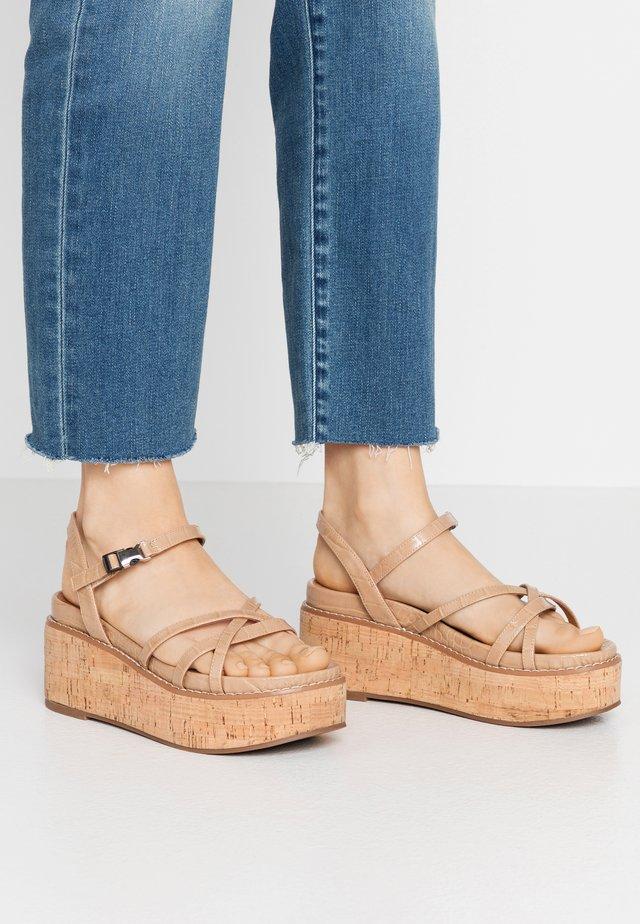 YEOK - Platform sandals - sand