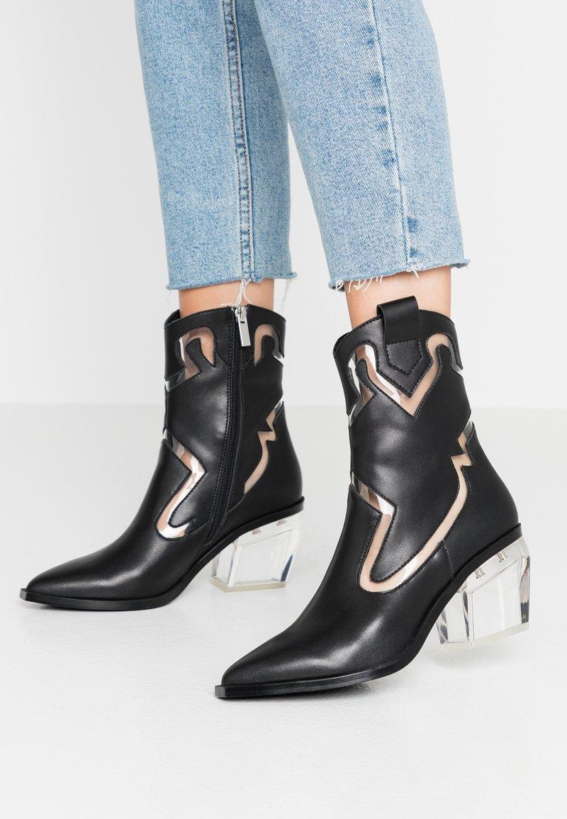 Sixtyseven - BONE - Cowboy/biker ankle boot - black/transparent