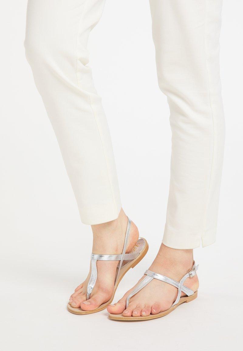 IZIA - T-bar sandals - silber