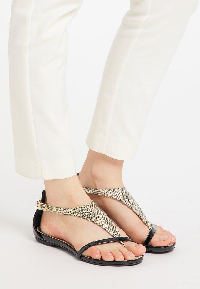 T-bar sandals - gold schlange
