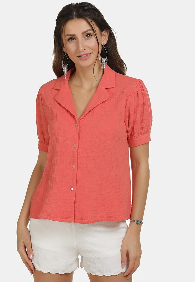 IZIA BLUSE - Button-down blouse - pfirsich