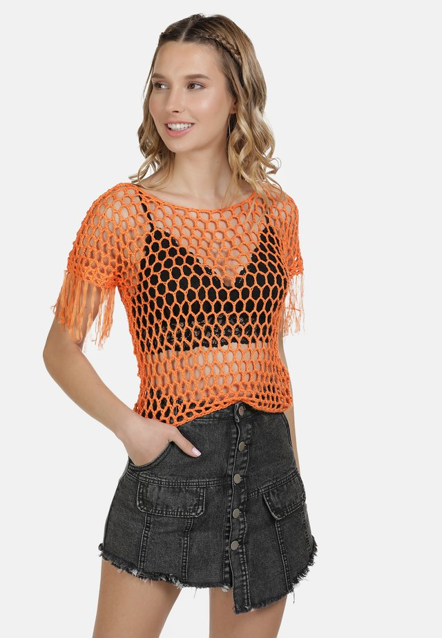 IZIA HÄKELTOP - Print T-shirt - orange
