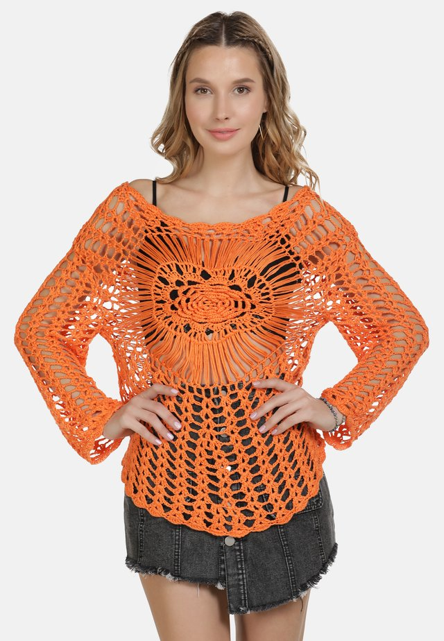 IZIA HÄKELPULLOVER - Stickad tröja - orange