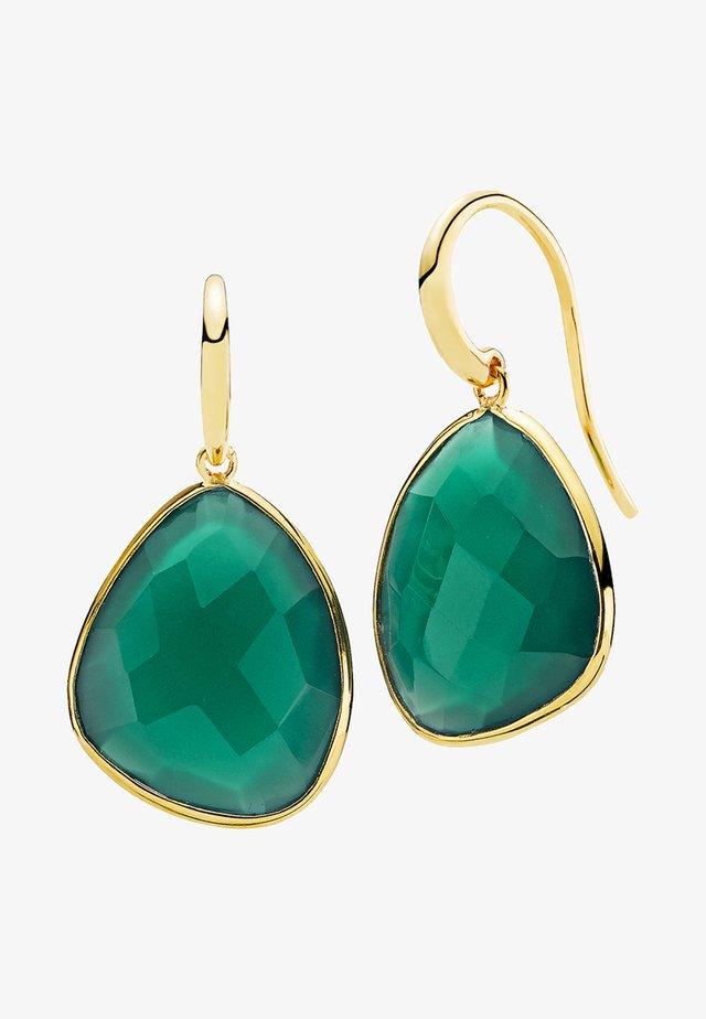 Kolczyki - gold-coloured/green