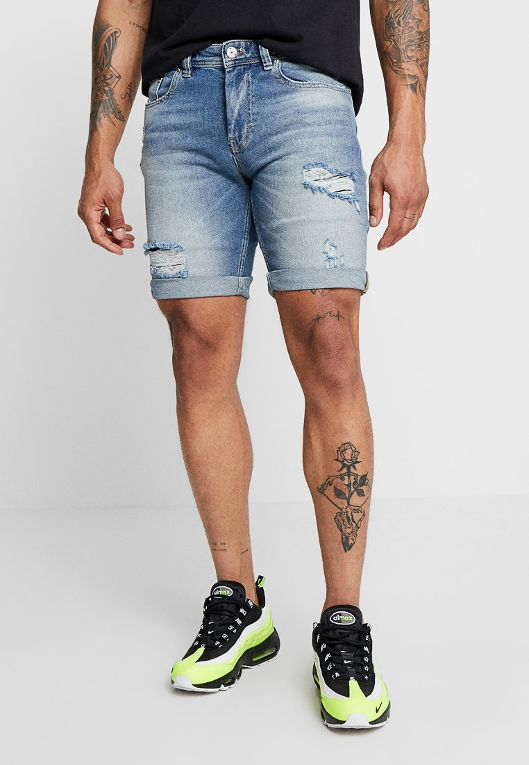 Just Junkies - MIKE - Denim shorts - pillow blue holes