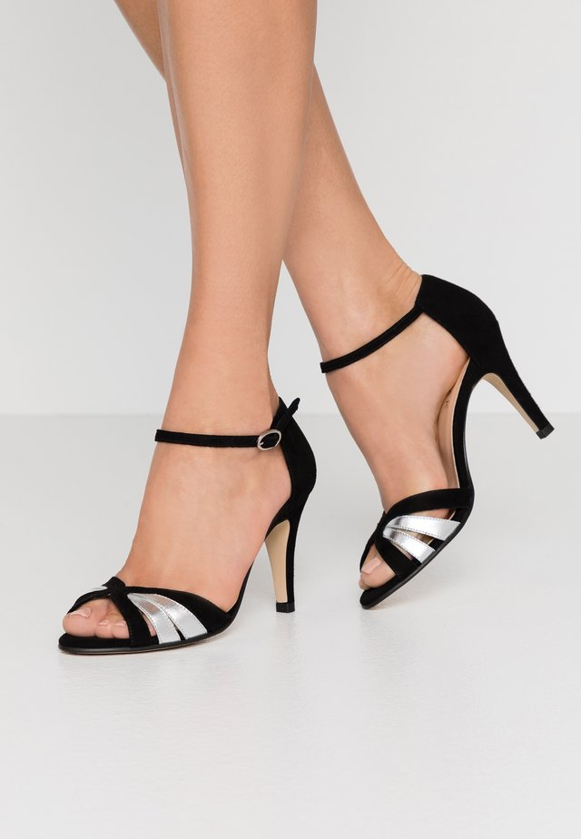 DONIT - High heeled sandals - noir/argent