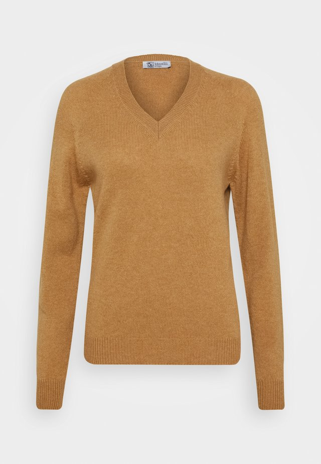 CLARA V NECK - Jumper - camel