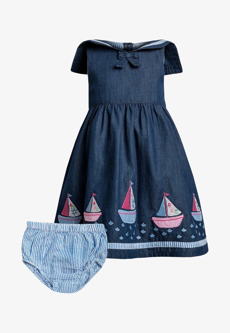JoJo Maman Bébé - SAILBOAT DRESS WITH KNICKERS BABY SET - Hverdagskjoler - charcoal