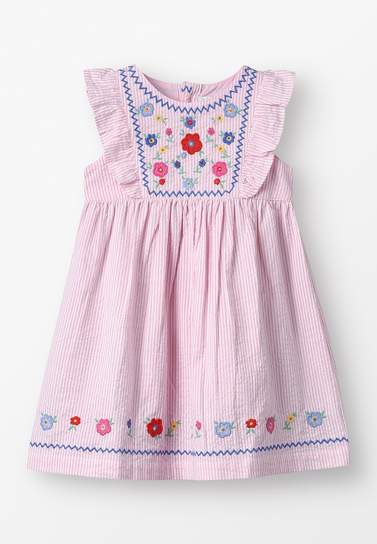 JoJo Maman Bébé - EMBROIDERED SEERSUCKER DRESS BABY - Vestido informal - pink