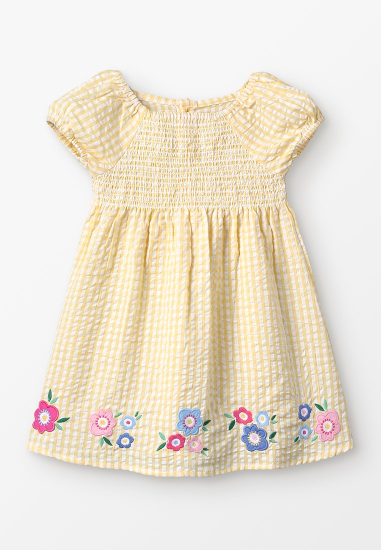 JoJo Maman Bébé - FLORAL APPLIQUE SMOCK - Korte jurk - yellow