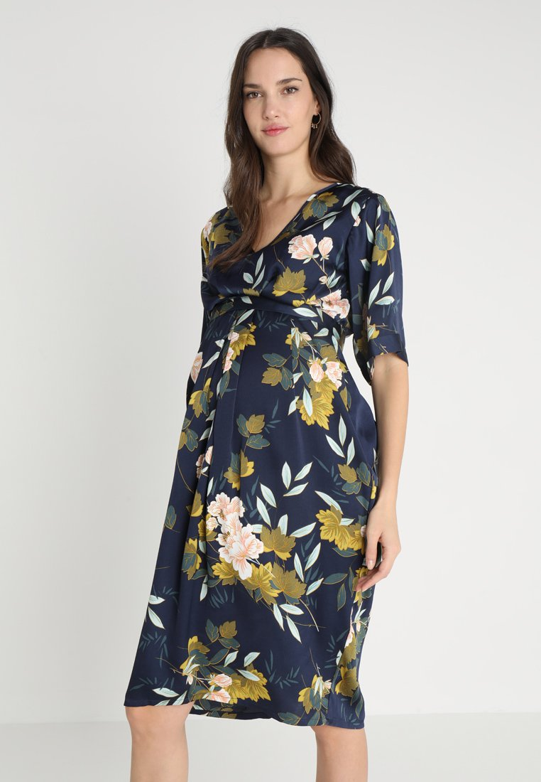 JoJo Maman Bébé - FLORAL V NECK SHORT SLEEVE DRESS - Denní šaty - navy