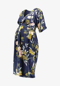 JoJo Maman Bébé - FLORAL V NECK SHORT SLEEVE DRESS - Denní šaty - navy - 4