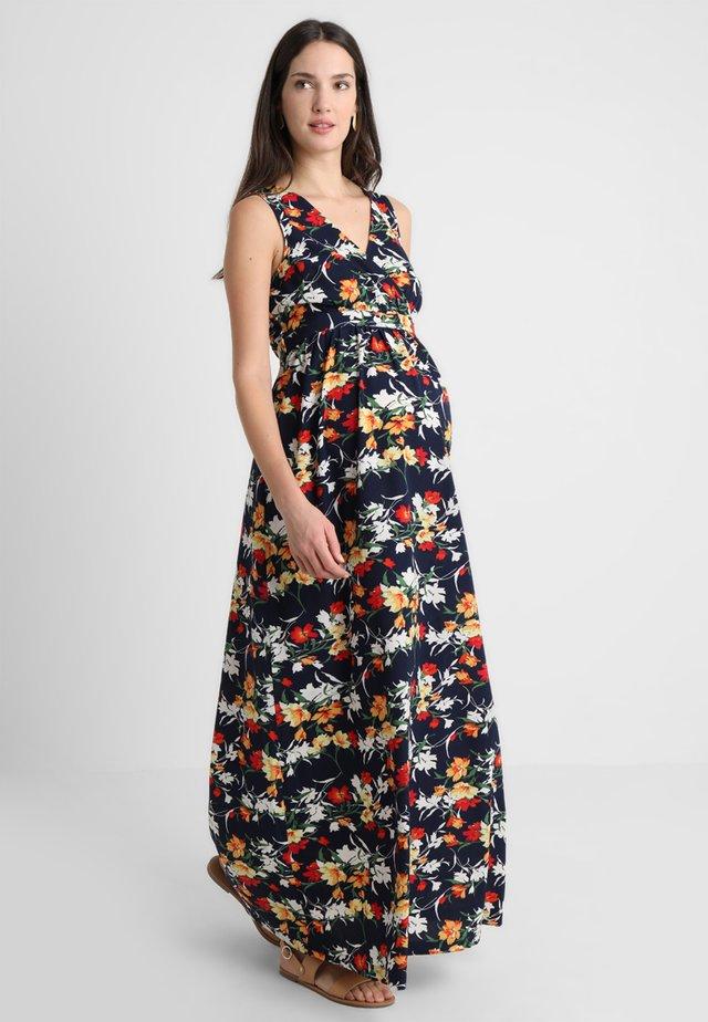 NAVY RED FLORAL DRESS - Maxi dress - navy