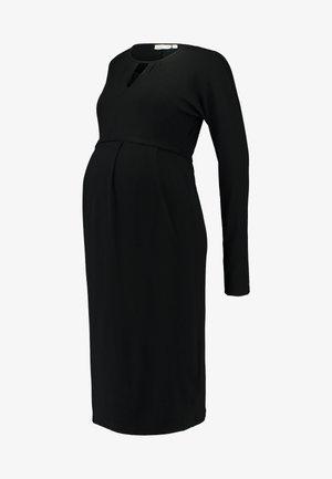KEYHOLE PLEAT DRESS - Vestito di maglina - black