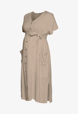 BUTTON FRONT MIDI DRESS - Paitamekko - natural