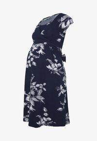 JoJo Maman Bébé - FLORAL MATERNITY NURSING TIE DRESS - Sukienka z dżerseju - navy - 4