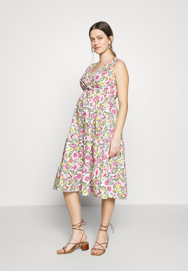 TIERED PRINTED DRESS - Sukienka letnia - white