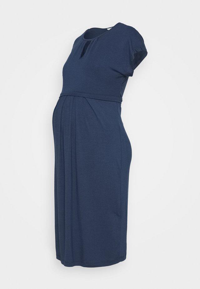 KEYHOLE PLEATED MATERNITY AND NURSING DRESS - Jerseykleid - midnight