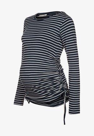 Long sleeved top - navy/ecru stripes
