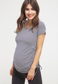 JoJo Maman Bébé - GATHERED - T-shirt print - navy ecru stripe - 0