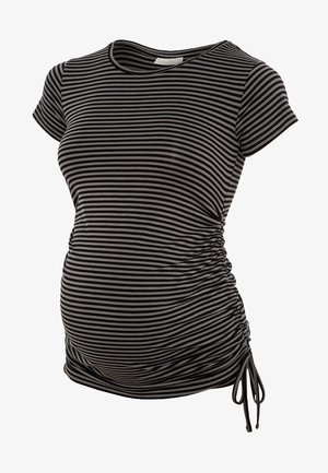 GATHERED - T-shirt print - black grey stripe