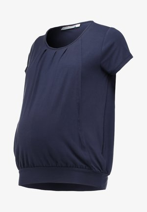 PLEATED - T-shirt z nadrukiem - mid night blue