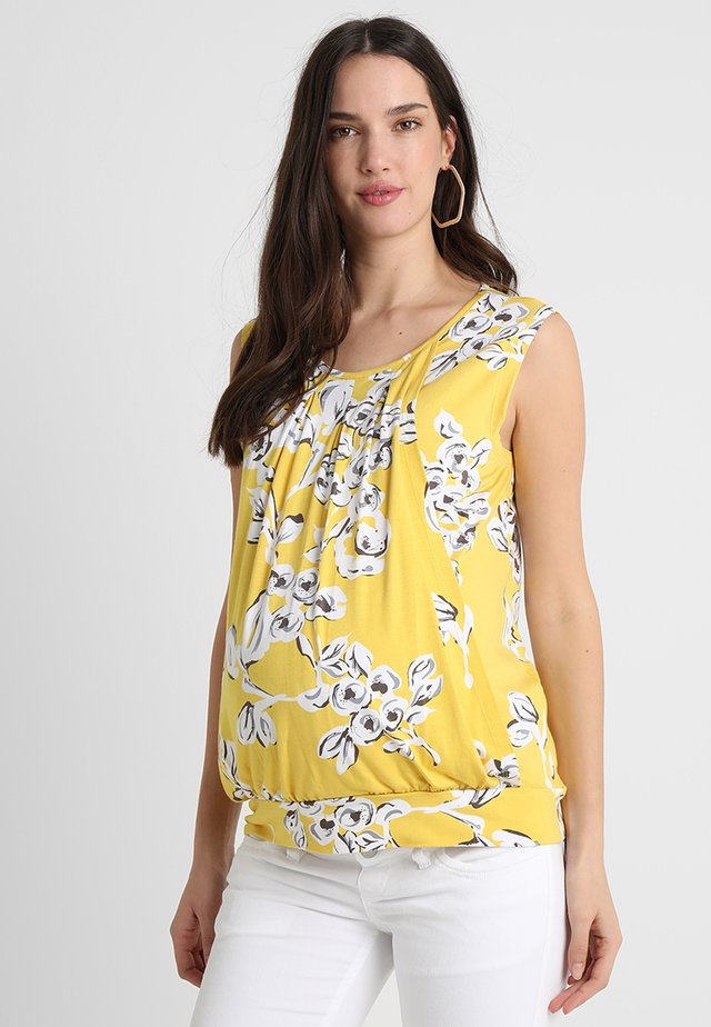 YELLOW FLORAL PLEATED VEST NURSING - Print T-shirt - yellow