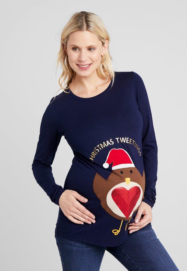 ROBIN CHRISTMAS SLOGAN - T-shirt à manches longues - navy