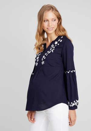 EMBROIDERED BLOUSE - Blus - navy