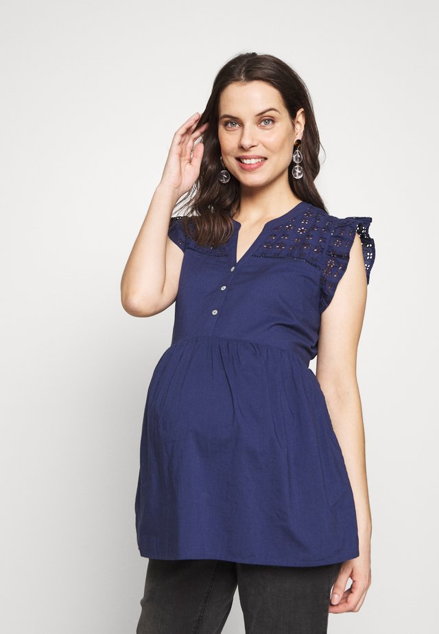 BRODERIE DETAIL BLOUSE - Blouse - navy