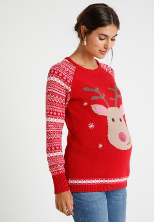 MATERNITY REINDEER JUMPER - Neule - red