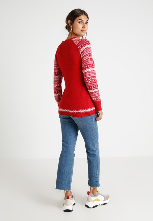 nowy JoJo Maman Bébé MATERNITY REINDEER JUMPER - Sweter - red Odzież Damska GQGK-IG5