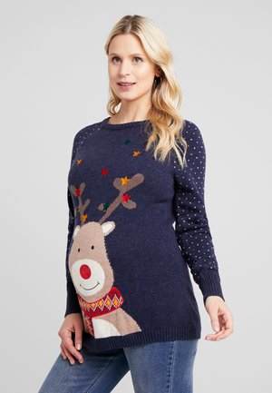 REINDEER MIX FAIR ISLE JUMPER - Strikkegenser - navy