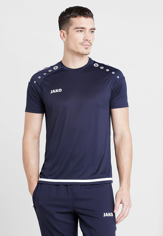 TRIKOT STRIKER 2.0 - T-Shirt print - marine/weiß