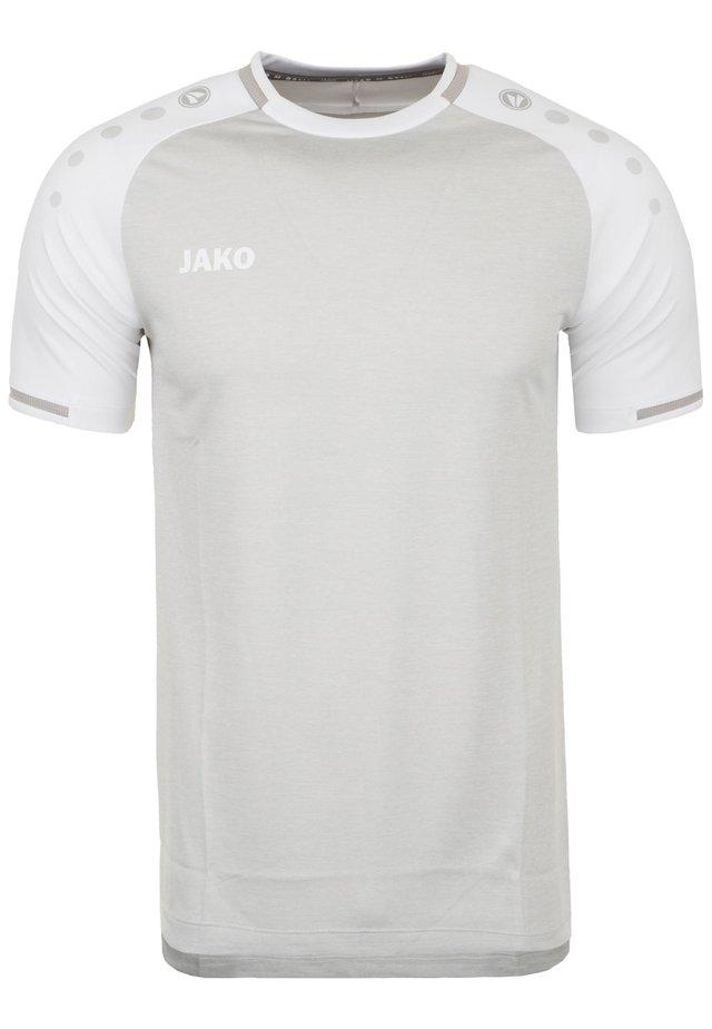 TRIKOT PRESTIGE HERREN - T-shirt print - silbergrau meliert / weiß